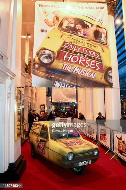 Reliant Robin car similar to the one featured in the television series Only Fools and Horses is seen on the red carpet at the opening night of Only...