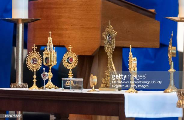 Relics from martyrs and saints are displayed on a table in the Christ Cathedral arboretum during a Solemn Evening Prayer and Vigil with the Relics at...