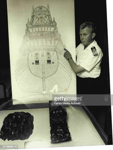 """Relics from the worlds oldest salvaged ship arrived in Sydney for the Maritime exposition 1970 .The Swedish freighter """" Waitara M arrived in Sydney..."""