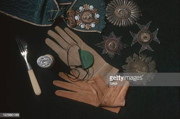 Relics of Lord Horatio Nelson at the National Maritime Museum in Portsmouth circa 1970, On display are medals, gloves, his eye patch and some cutlery.
