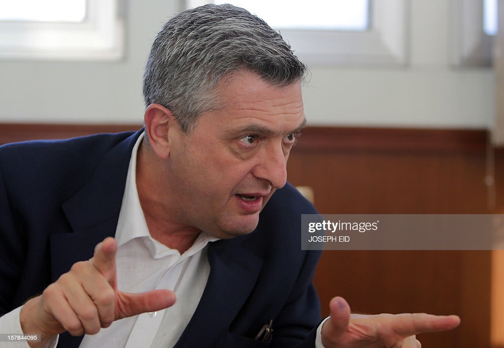 UN Relief and Works Agency (UNRWA) chief Filippo Grandi speaks during an interview on December 6, 2012. Some 520,000 Palestinian refugees live in Syria, according to UNRWA, among them 400,000 in Damascus and its province.