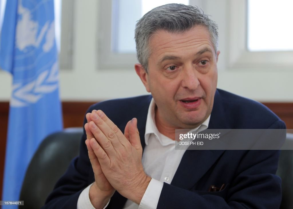 UN Relief and Works Agency (UNRWA) Filippo Grandi speaks during an interview on December 6, 2012. Some 520,000 Palestinian refugees live in Syria, according to UNRWA, among them 400,000 in Damascus and its province.