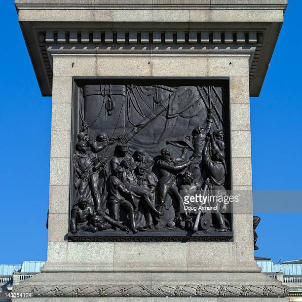 relief at base of nelsons column, trafalgar square - bas relief stock pictures, royalty-free photos & images