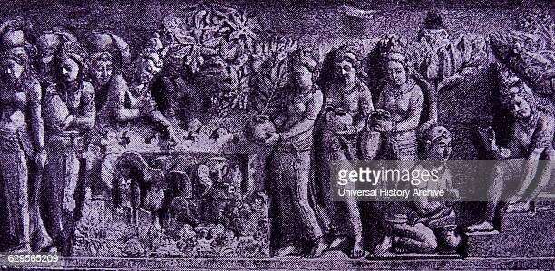Relief at Borobudur Temple Indonesia Depicts women carrying lotus offerings Borobudur or Borobudur is a 9thcentury Mahayana Buddhist Temple in...