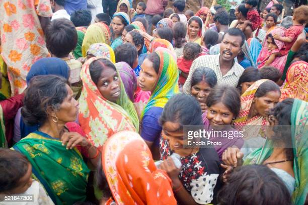 Relief camp of victims of Kosi river flood in year 2008, Purniya district, Bihar, India