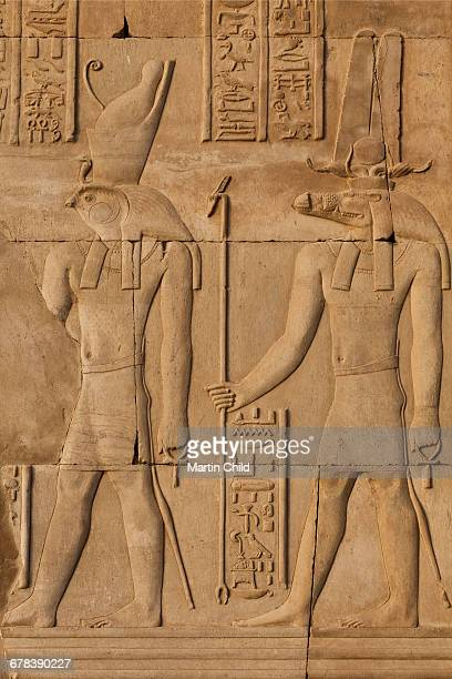 Relief carving in the ancient Egyptian Temple of Kom Ombo near Aswan, Egypt, North Africa, Africa