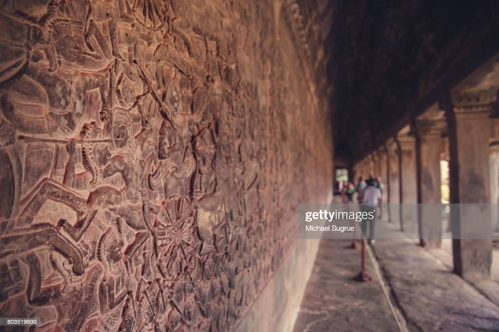 Relief carving inside angkor wat temple siem reap cambodia