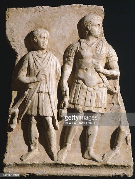 Relief depicting a centurion and a soldier from Turin Piedmont Roman Civilization Turin Museo Di Antichità