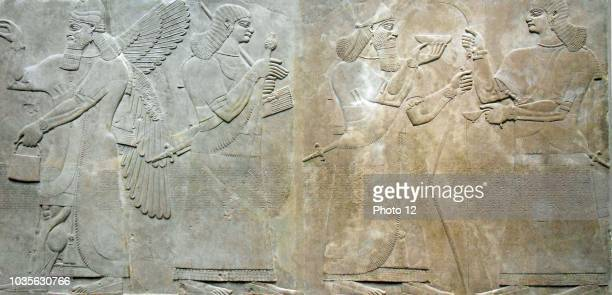 Relief depicting a king and eunuch attendant, 883.859 b.c., Neo.Assyrian period, reign of Ashurnasirpal II. Excavated at Nimrud , northern...