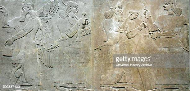 Relief depicting a king and eunuch attendant, 883–859 b,c.; Neo–Assyrian period, reign of Ashurnasirpal II. Excavated at Nimrud , northern Mesopotamia