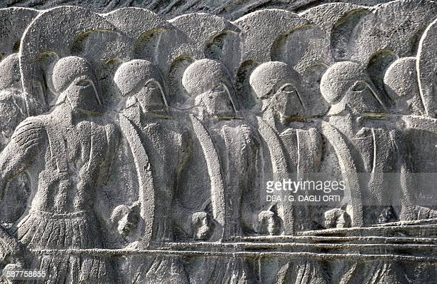 Relief depicting a Macedonian phalanx epic of Alexander the Great Thessaloniki Greece Greek civilisation