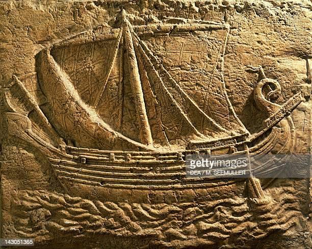 Relief depicting a trade ship Phoenician civilization Paris Musée De La Marine