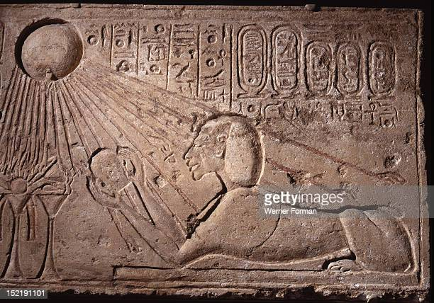 Relief depicting Akhenaten as a sphinx offering to the sun god Aten Egypt Ancient Egyptian Amarna 18th Dynasty c 1373 1357 BC