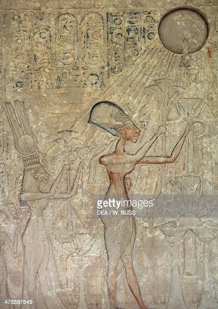 Relief depicting Akhenaton and his family worshipping Aton Egyptian civilisation New Kingdom Dynasty XVIII Detail Cairo Egyptian Museum