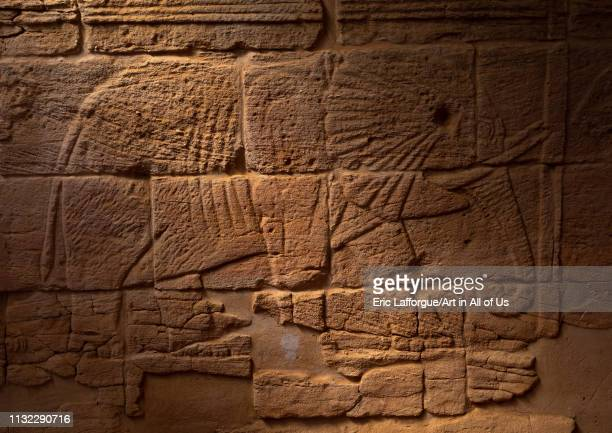 Relief depicting an elephant in Musawwarat essufra meroitic lion temple Nubia Musawwarat esSufra Sudan on December 29 2018 in Musawwarat Essufra Sudan