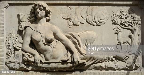 Relief depicting Goddess Diana St Mary Street Gdansk Poland