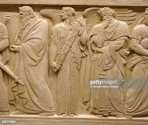 Relief depicting Hebrew prophet Moses On the Right of Moses is seen the figure of Austerity King Solomon of Biblical Israel is seen hand supporting...