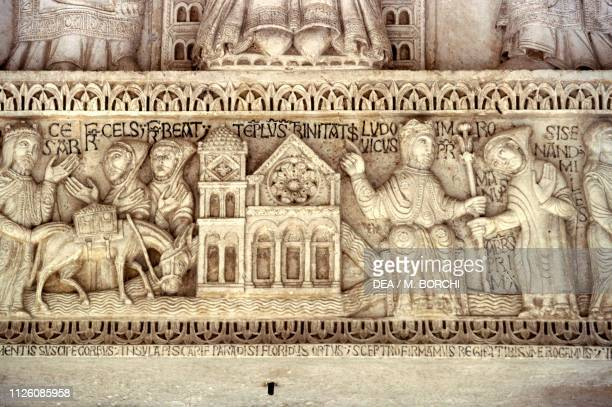 Relief depicting the history of the foundation of the abbey architrave above the main entrance Abbey of St Clement in Casauria Castiglione a Casauria...
