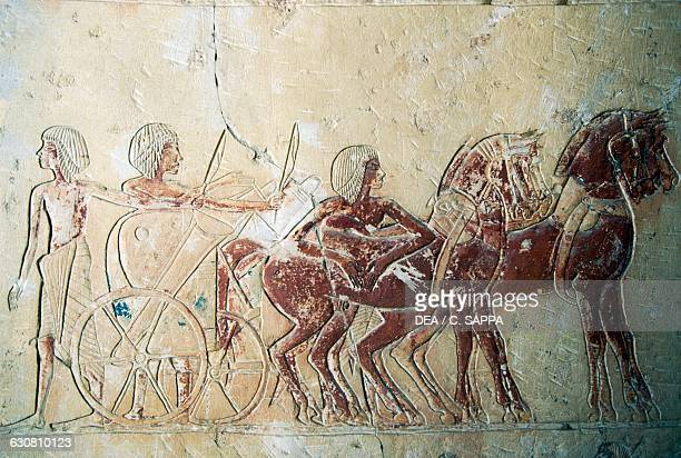 Relief depicting the preparation of a chariot mortuary temple of Ramesses III Medinet Habu Thebes Egyptian civilisation New Kingdom Dynasty XX