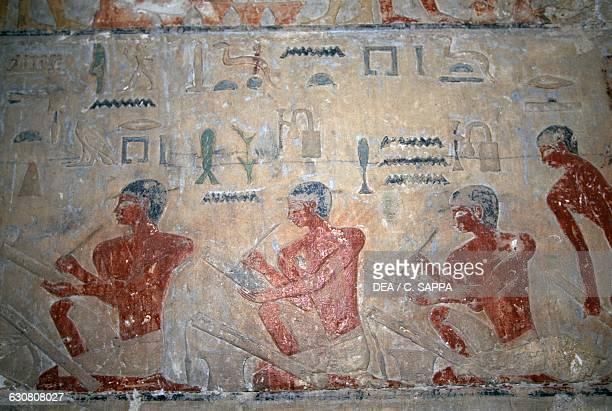 Relief depicting the scribes Mastaba of Ti Necropolis of Saqqara Memphis Egypt Egyptian civilisation Dynasty V