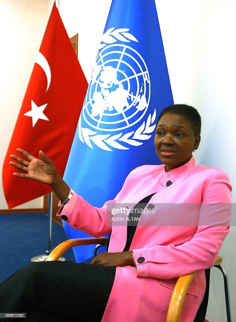 UN relief emergency coordinator Valerie Amos speaks during an AFP interview in Ankara on March 14, 2013.