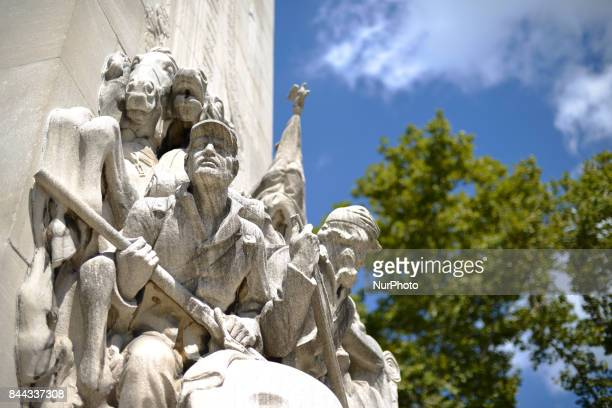 Relief found as decoration alongside the Benjamin Franklin Parkway in Philadelphia PA on September 8 2017 The Parkway100 celebrations kick of at the...