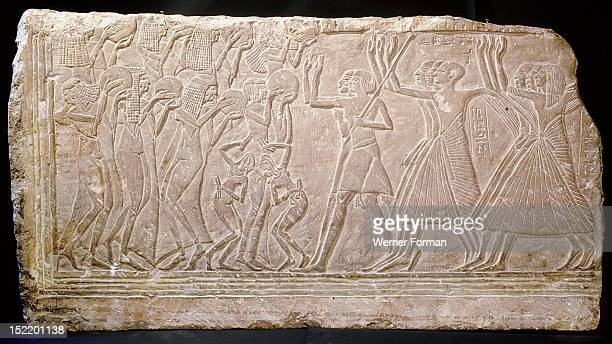 Relief from a private tomb at Saqqara reused in the Serapeum A jubilation scene probably from a funeral procession it depicts a group of women...