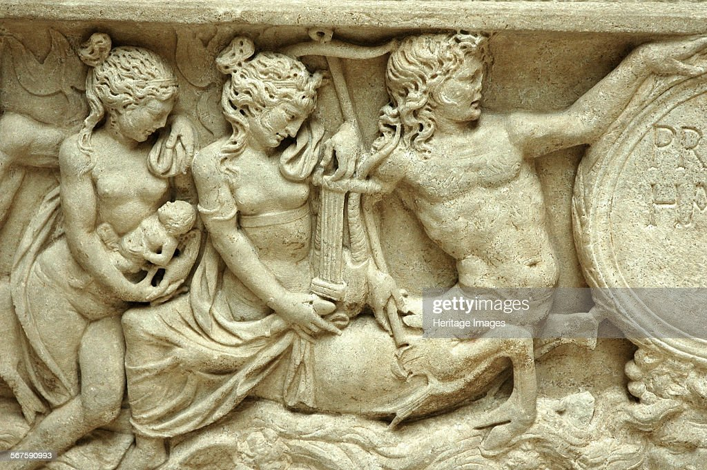Relief From A Sarcophagus Depicting A Centaur.   Culture: Roman. Credit Line: Werner Forman Archive, Artist: Werner Forman. : News Photo