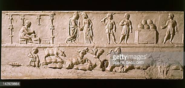 Relief from a sarcophagus depicting scenes of everyday life Roman Civilisation 2nd Century Rome Museo Della Civiltà Romana
