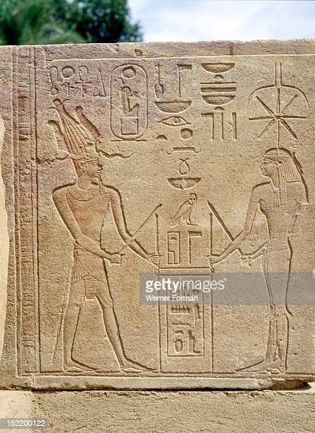 Relief from the Red Chapel of Hatshepsut She is depicted as a male pharaoh and joins the goddess Seshat in the foundation ceremony required to...