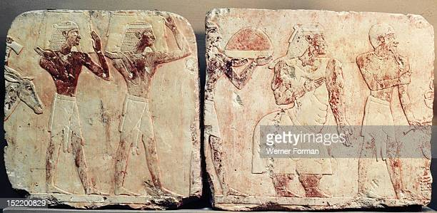 A relief from the temple of Queen Hatshepsut at Deir el Bahri depicting the maritime expedition which Hatshepsut sent via the Red Sea to Punt in c...