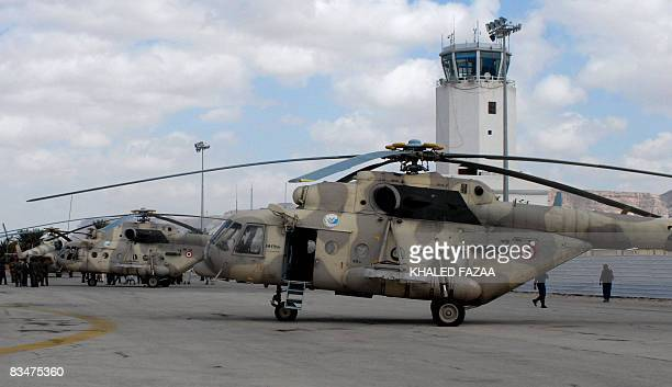 Relief helicopters are seen at the Sayun airport in the eastern Yemeni province of Hadramaut on October 25 2008 following two days of heavy storms in...