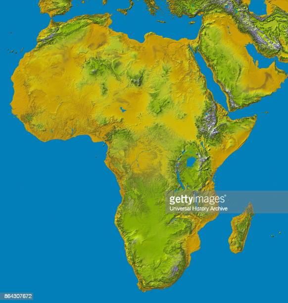 Relief image of Africa by the Shuttle Radar Topography Mission This release in 2000 includes data for all of the continent plus the island of...