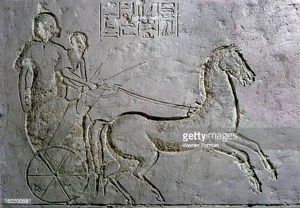 A relief in an Amarna tomb showing soldiers on a battle chariot Egypt Ancient Egyptian 18th dynasty c 1352 1336 BC Amarna period