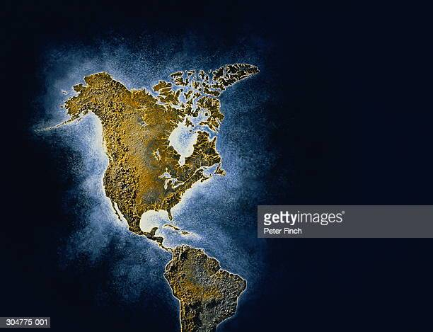 Relief map of North and South America