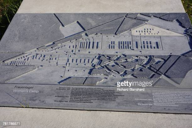A relief map of the women's camp at the site of the former BergenBelsen German Nazi concentration camp in Lower Saxony Germany 2014 The site is now a...