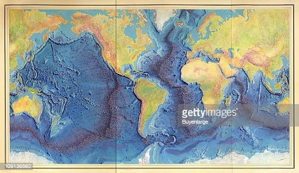 Relief map of the world ocean floor with the relief shown by land form drawings shading and gradient tints 1977 Depths are shown by land form...