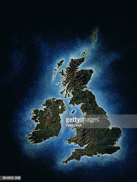 relief map of united kingom - western europe stock pictures, royalty-free photos & images