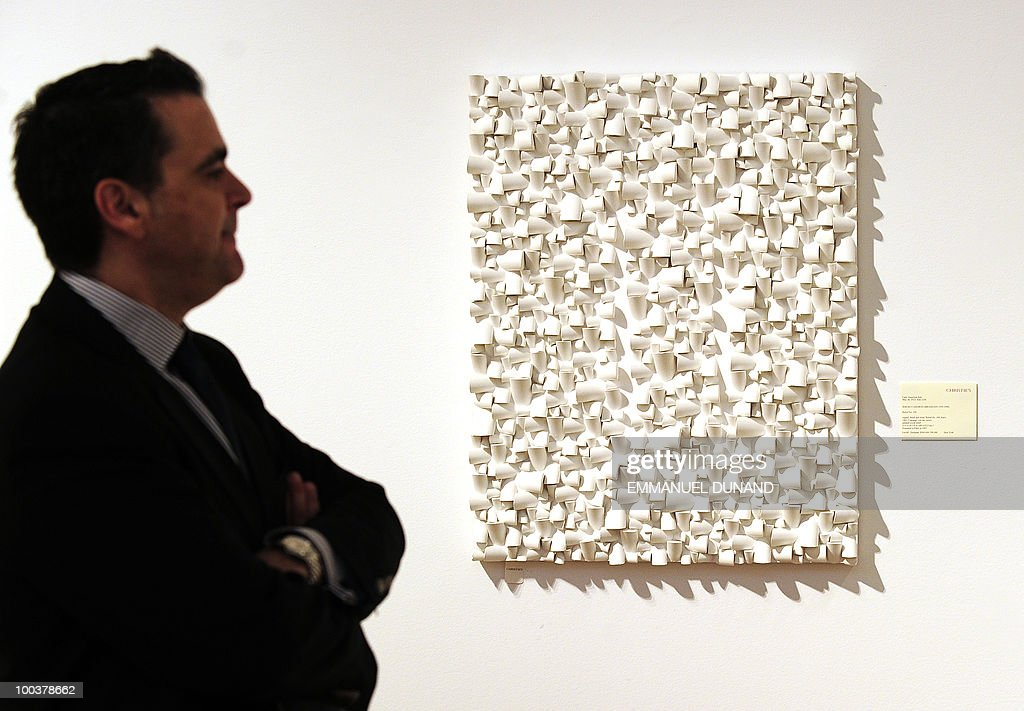 'Relief No 188' by Sergio Camrago is on display during a preview of Christie's Latin American Art auctions, May 24, 2010 in New York. Christie's will hold its Latin American Art auctions on May 26 and 27, 2010. AFP PHOTO/Emmanuel Dunand