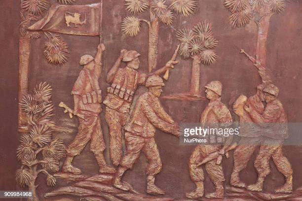 Relief of a war scene on the Elephant Pass War Memorial located at the Elephant Pass Northern Province Sri Lanka This memorial depicts huge bronze...