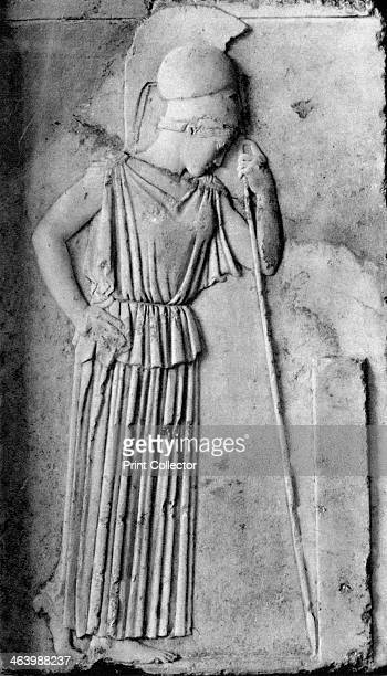 Relief of Athena/Minerva 5th century BC Sculpture of the Ancient Greek goddess Athena mourning mezzorelievo from the Acropolis in Athens Illustration...