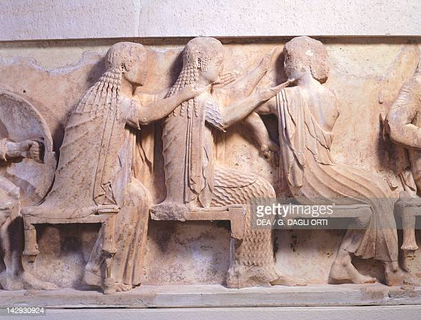Relief of Gods in council 525 BC from the metope of the Siphnian Treasury in Delphi Greece Detail Greek civilization 6th Century BC Delphi Museum