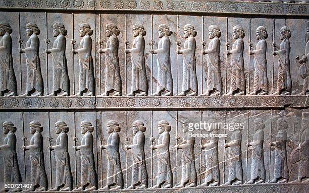 Relief of Immortals the Apadana Persepolis Iran The Immortals were an elite royal guard within the Achaemenid Persian army Only ethnic Persians or...