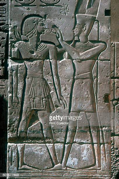 Relief of Rameses III receives the blessing of Amon-Ra , Mortuary Temple, Medinet Habu, Egypt, 12th century BC.