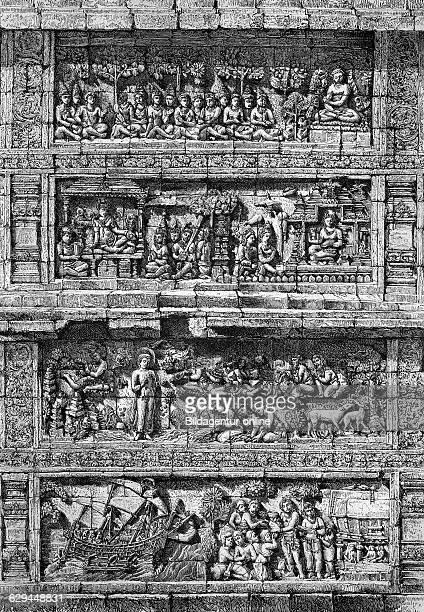 Relief of the temple of borobudur barabudur in java one of the largest buddhist temples in southeast asia historical engraving of 1883