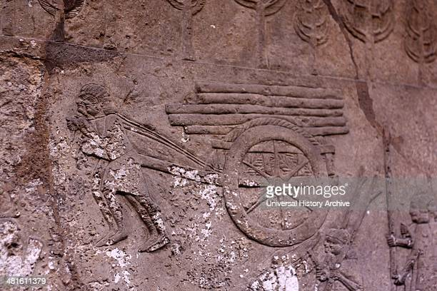 Relief of Winged bull for Sennacherib at nearby Nineveh Instead of the usual scenes of warfare they show the transport of a human headed winged bull...
