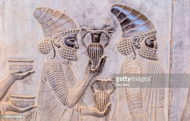 relief on a wall of the ancient city persepolis, shiraz, iran - persian culture stock photos and pictures