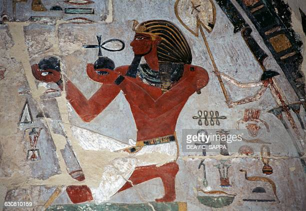 Relief painted with Thutmose offering wine Mortuary Temple of Hatshepsut Deir elBahri Theban necropolis Luxor Egypt Egyptian civilisation New Kingdom...