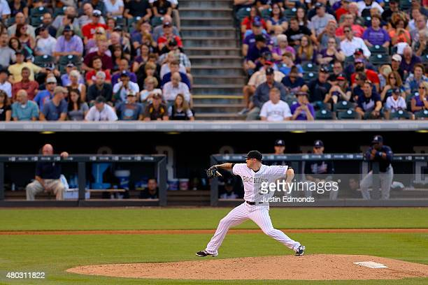 Relief pitcher Aaron Laffey of the Colorado Rockies delivers to home plate during the fifth inning against the Atlanta Braves at Coors Field on July...
