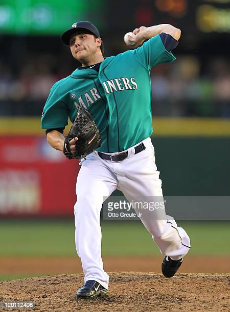 Relief pitcher Aaron Laffey of the Seattle Mariners pitches against the Tampa Bay Rays at Safeco Field on July 29 2011 in Seattle Washington